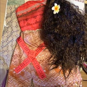 Moana costume with wig